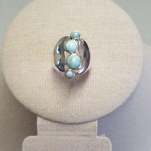 Larimar 4 Stone Sterling Silver Ring